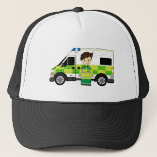 Cute Cartoon Ambulance and EMT Trucker Hat