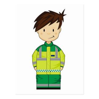 Cute Cartoon Ambulance EMT Postcard