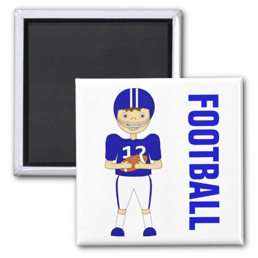 Cute Cartoon American Football Player in Blue Kit Magnets