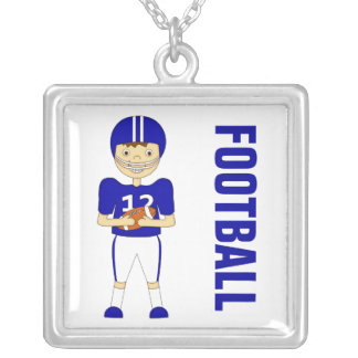 Cute Cartoon American Football Player in Blue Kit Necklaces