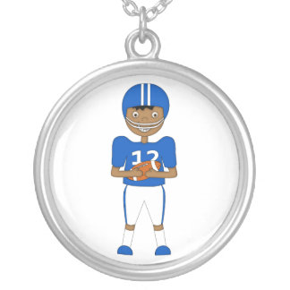 Cute Cartoon American Football Player in Blue Kit Round Pendant Necklace