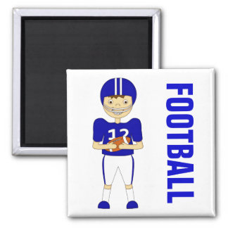 Cute Cartoon American Football Player in Blue Kit Square Magnet
