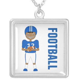 Cute Cartoon American Football Player in Blue Kit Square Pendant Necklace