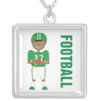 Cute Cartoon American Football Player in Green Kit Necklaces