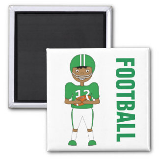 Cute Cartoon American Football Player in Green Kit Square Magnet