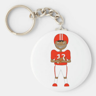 Cute Cartoon American Football Player in Red Kit Basic Round Button Key Ring