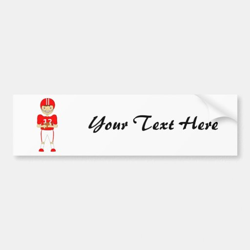 Cute Cartoon American Football Player in Red Kit Bumper Sticker