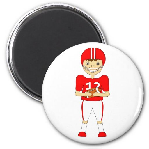 Cute Cartoon American Football Player in Red Kit Refrigerator Magnet