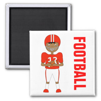 Cute Cartoon American Football Player in Red Kit Fridge Magnets