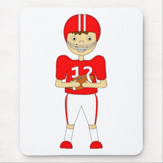 Cute Cartoon American Football Player in Red Kit Mouse Pad