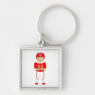 Cute Cartoon American Football Player in Red Kit Silver-Colored Square Key Ring