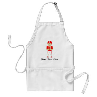 Cute Cartoon American Football Player in Red Kit Standard Apron