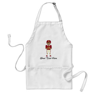 Cute Cartoon American Football Player Maroon Kit Adult Apron