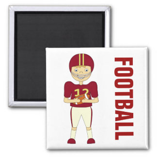Cute Cartoon American Football Player Maroon Kit Square Magnet