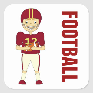 Cute Cartoon American Football Player Maroon Kit Square Sticker