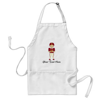 Cute Cartoon American Football Player Maroon Kit Standard Apron