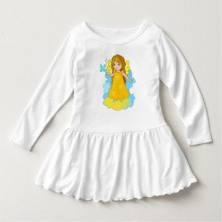 Cute cartoon angel on a cloud with a singing bird. dress