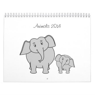 Cute Cartoon Animals 2014 Calendar