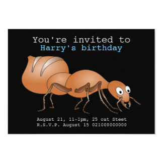 Cute Cartoon Ant 13 Cm X 18 Cm Invitation Card