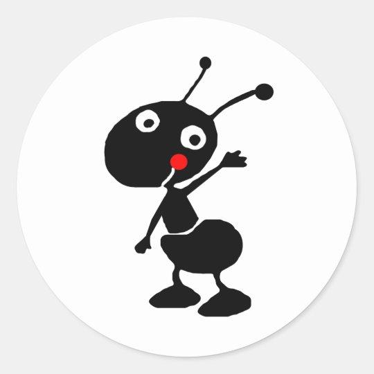 cute cartoon ant round sticker