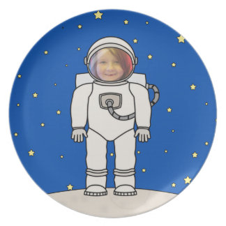 Cute Cartoon Astronaut Photo Costume Template Plate