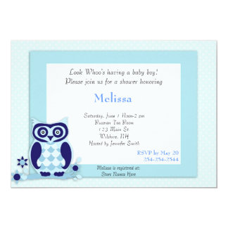 Cute Cartoon Baby Blue Owl Baby Shower Invitation