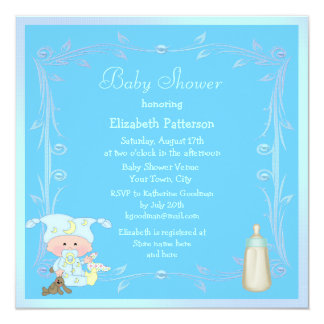 Cute Cartoon Baby Boy Blue Baby Shower Personalized Invites