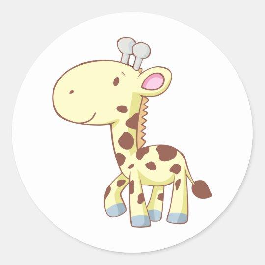 Cute Cartoon Baby Giraffe Shirts Classic Round Sticker