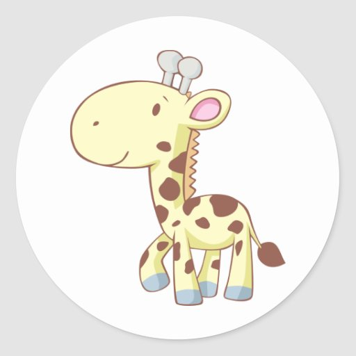 Cute Cartoon Baby Giraffe Shirts Round Sticker