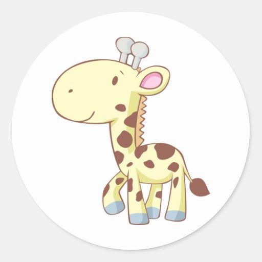 Cute Cartoon Baby Giraffe Shirts Round Stickers