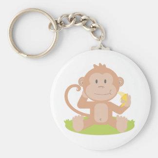 Cute Cartoon Baby Monkey Sitting and Eating Banana Keychains