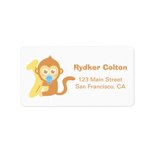Cute Cartoon Baby Monkey with Banana Address Label