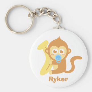 Cute Cartoon Baby Monkey with Banana Basic Round Button Key Ring