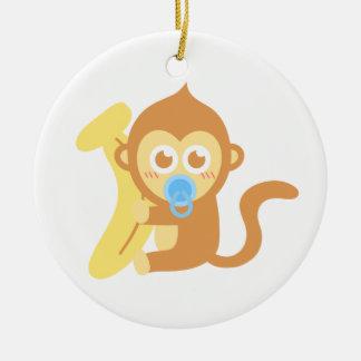Cute Cartoon Baby Monkey with Banana Christmas Ornament