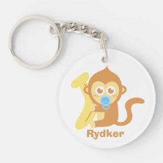 Cute Cartoon Baby Monkey with Banana Double-Sided Round Acrylic Key Ring