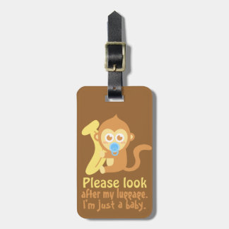 Cute Cartoon Baby Monkey with Banana Luggage Tag