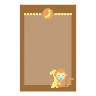 Cute Cartoon Baby Monkey with Banana Stationery
