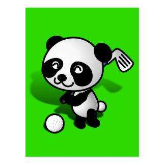 Cute Cartoon Baby Panda Bear Golfing Postcards