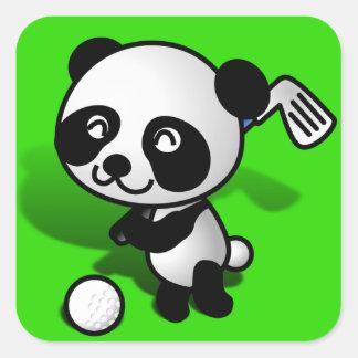 Cute Cartoon Baby Panda Bear Golfing Square Sticker