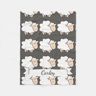 Cute Cartoon Baby Sheep & Name in Script Fleece Blanket