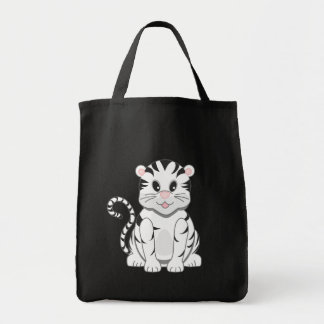 Cute Cartoon Baby White Tiger Cub
