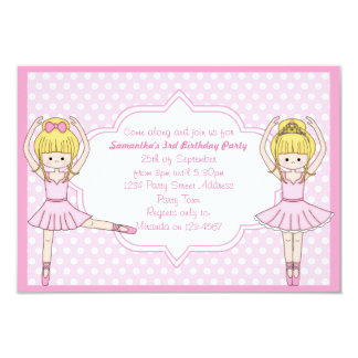 "Cute Cartoon Ballerina Girl in Pink Party Invites 3.5"" X 5"" Invitation Card"