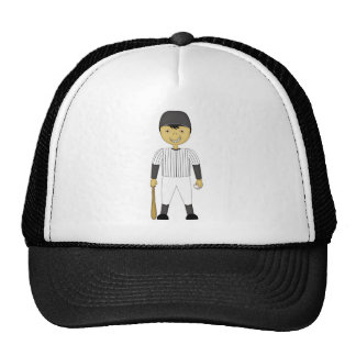 Cute Cartoon Baseball Player Black & White Uniform Trucker Hat