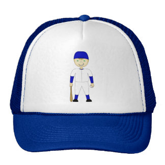 Cute Cartoon Baseball Player Blue & White Uniform Trucker Hat
