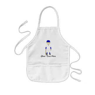 Cute Cartoon Baseball Player Blue & White Uniform Kids Apron
