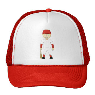 Cute Cartoon Baseball Player Red & White Uniform Trucker Hat