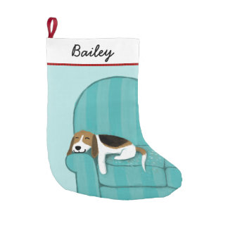 Cute Cartoon Beagle on Couch with Custom Text Small Christmas Stocking
