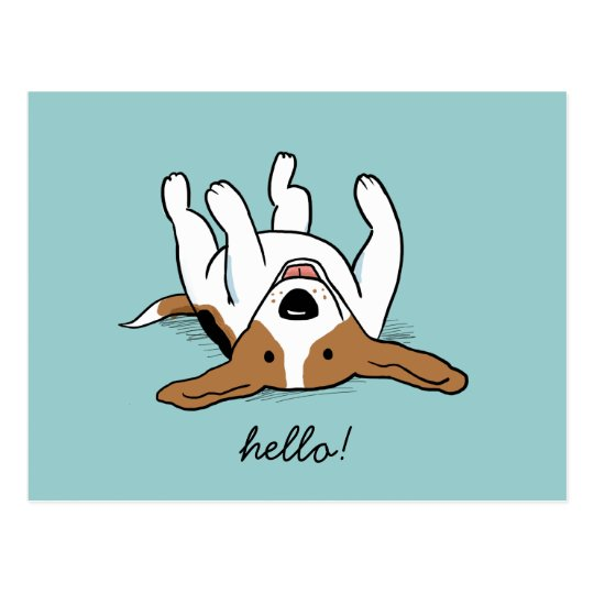 Cute Cartoon Beagle with Customisable Text Postcard