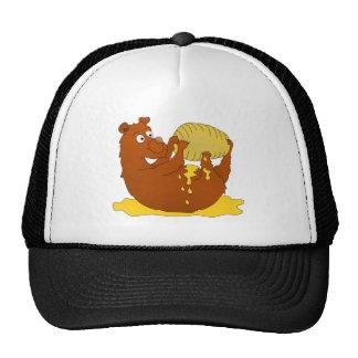 Cute Cartoon Bear Eating Honey Cap