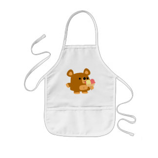 Cute Cartoon Bear with Balls cooking apron